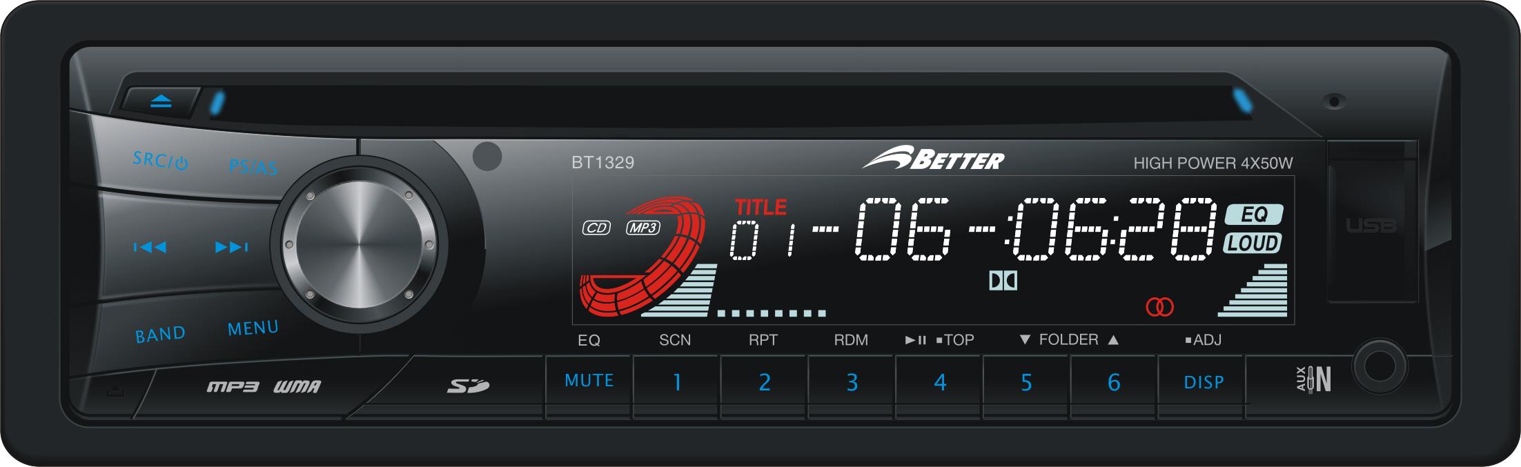 Radio Better Ref: BT1329 USB y auxiliar frontal, SD, CD, MP3